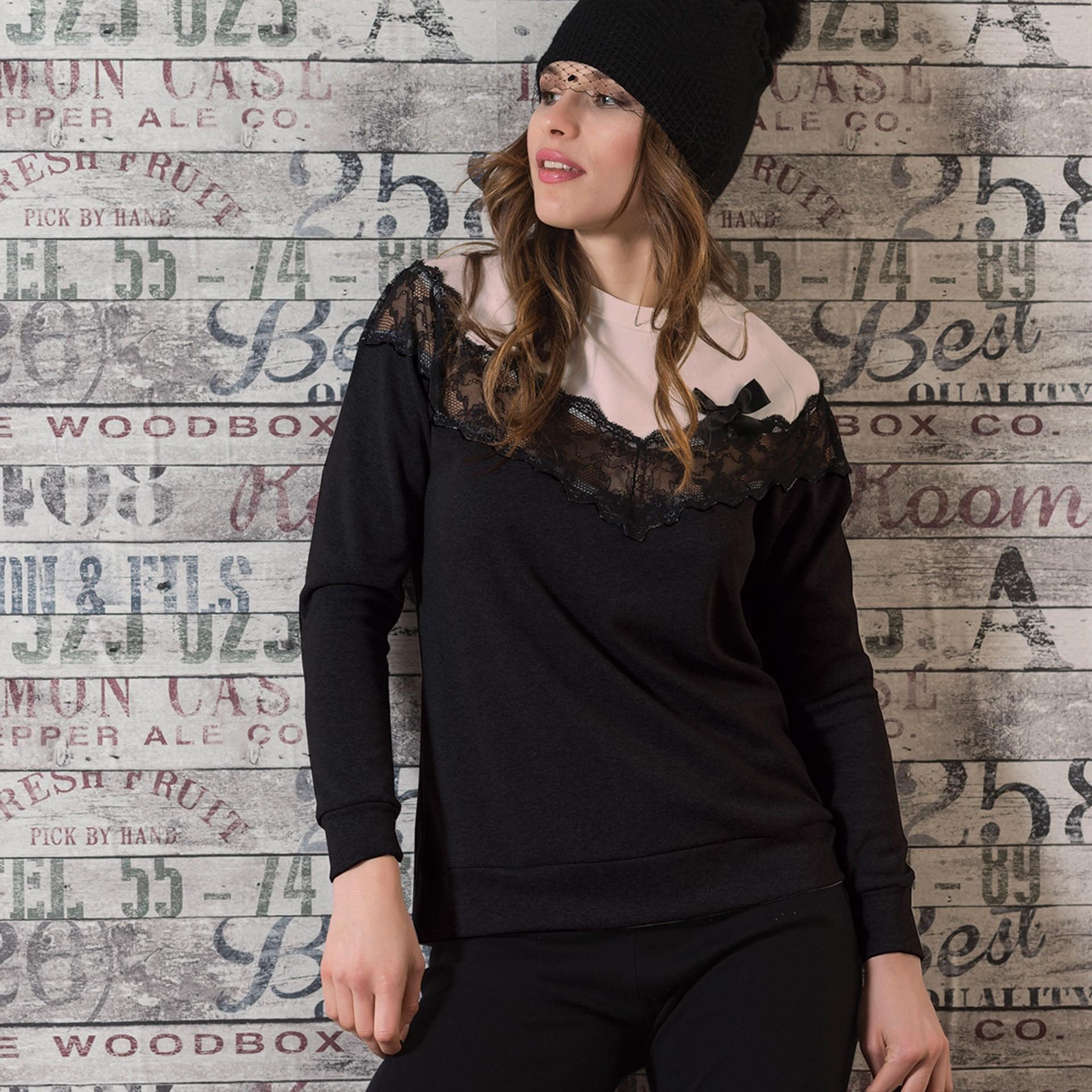 11aa387c6bda Snelly γυναικεία χειμωνιάτικη πυτζάμα ροζ-μαύρη μπλούζα με δαντέλα και  μαύρο παντελόνι 64978