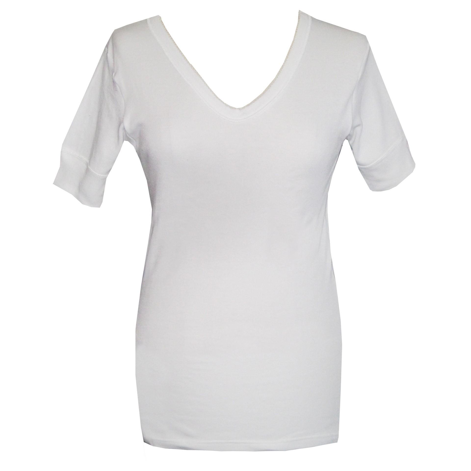 ba66f954f356 Dedes Thermal γυναικεία άσπρη V μακριά κοντομάνικη ισοθερμική μπλούζα  780.5623