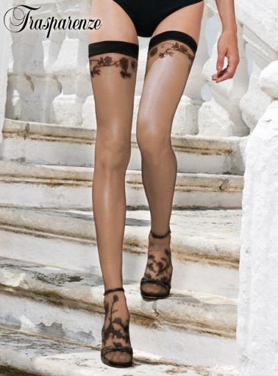 Trasparenze μπεζ κάλτσα με μαύρο σχέδιο λουλούδια Ardith AU
