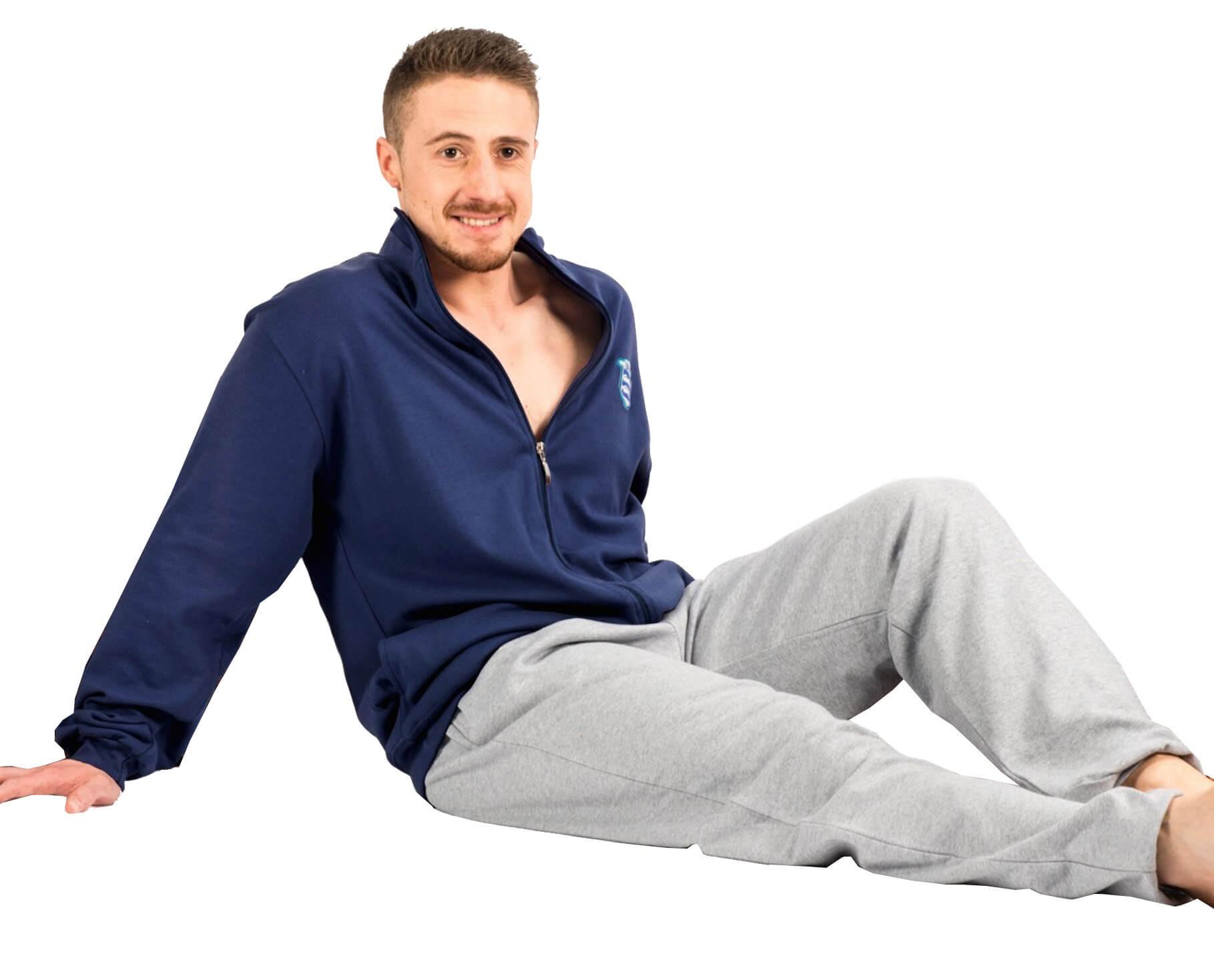 Contro Senso βαμβακερή αντρική χειμωνιάτικη πυτζάμα navy ζακέτα & γκρι μελανζέ παντελόνι κωδ.S2G_U6680