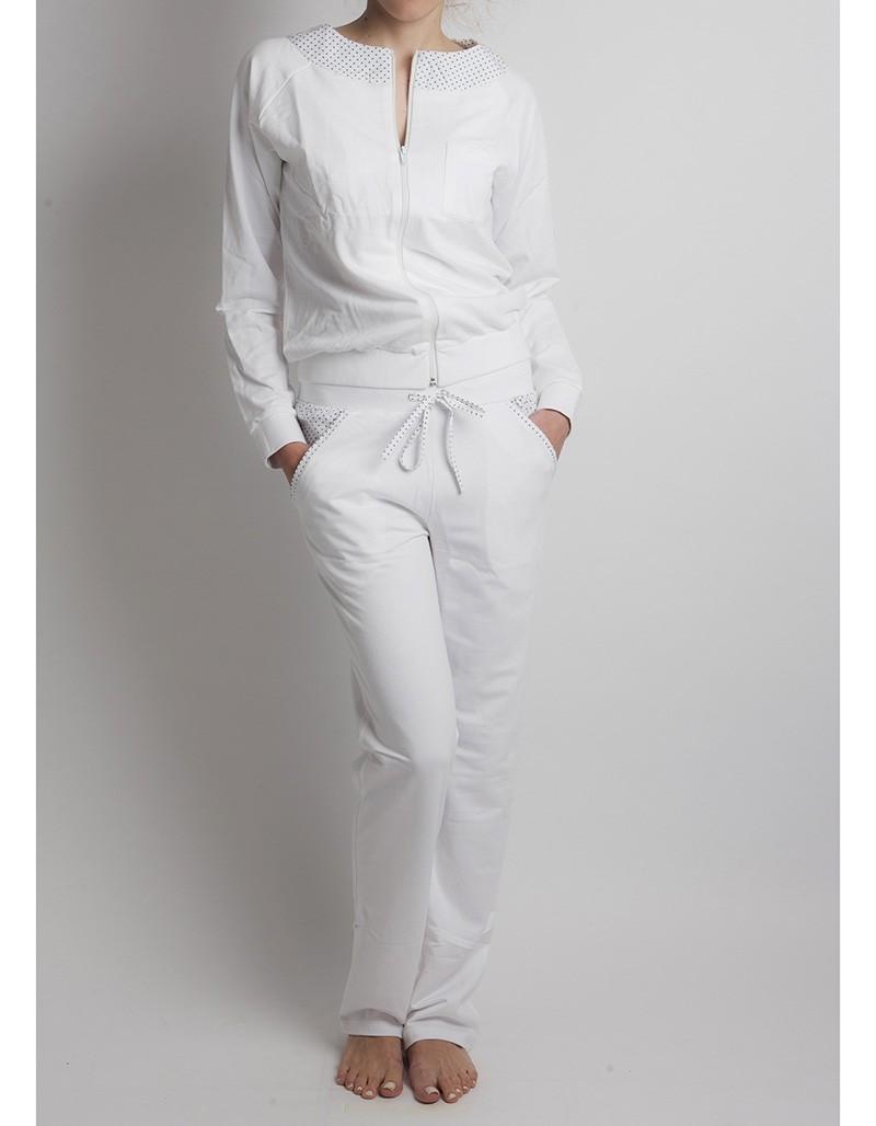 ΕΞΑΝΤΛΗΜΕΝΟ Luna άσπρη βαμβακερή φόρμα Dotty jacket & trousers 83102