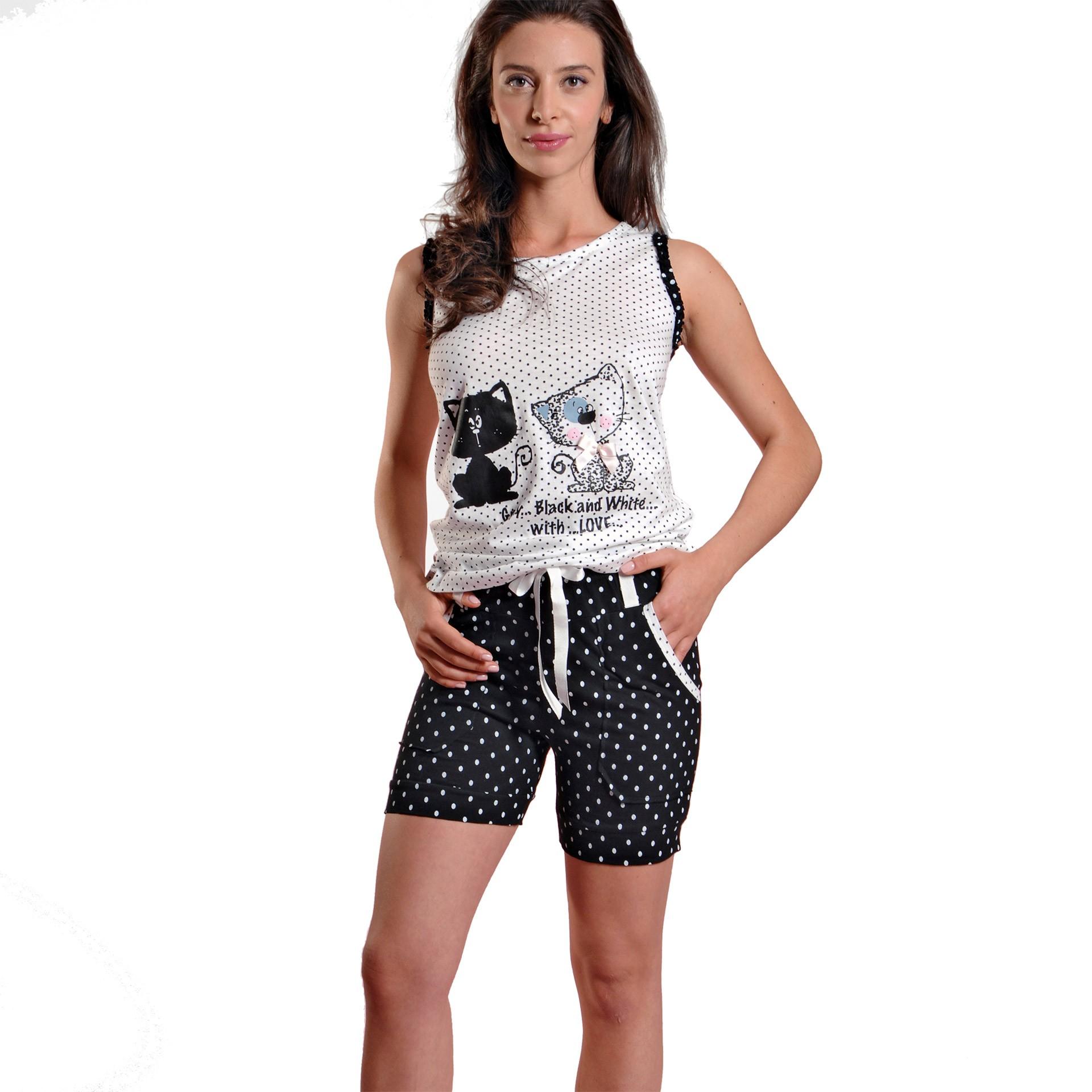 47350247ba2 Ogham γυναικεία καλοκαιρινή πυτζάμα άσπρη πουά αμάνικη μπλούζα με ...