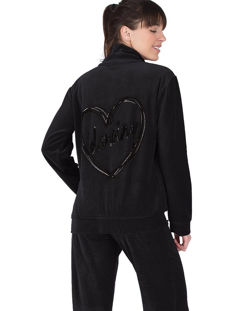Rachel μαύρη βελουτέ γυναικεία φόρμα με σχέδιο dancing καρδιά πίσω 12027