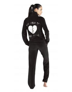 Rachel μαύρη βελούδινη φόρμα με γούνινη καρδιά στη πλάτη κωδικός 11767