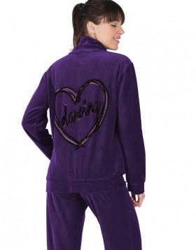 Rachel μωβ βελουτέ γυναικεία φόρμα με σχέδιο dancing καρδιά πίσω 12027