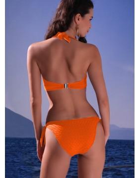 Jolidon γκοφρέ πορτοκαλί σετ μαγιό δετό τρίγωνο cup C με δετό brazilian σλιπ Playa Paraiso F2474