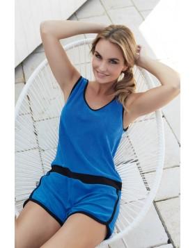 Μπλε ολόσωμο βαμβακερό πετσετέ σορτς Jadea Sunset 3032