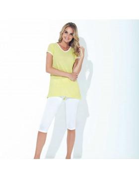 Σύνολο κίτρινο V T-shirt με άσπρο κάπρι παντελόνι Jadea 3036