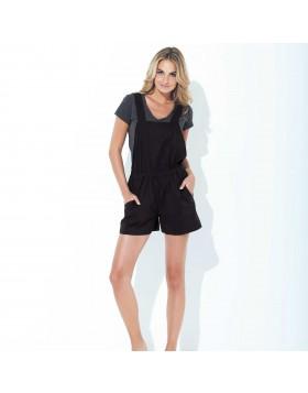 Βαμβακερό σύνολο σκούρο γκρι μπλούζα με μαύρη σαλοπέτα Jadea 3042