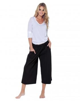 Βαμβακερό σύνολο άσπρη μπλούζα με μαύρη παντελόνα Jadea 3043