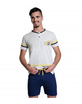 Ogham καλοκαιρινή αντρική πυτζάμα ανοιχτό γκρι μελανζέ μπλούζα, σκούρο μπλε βερμούδα 4306