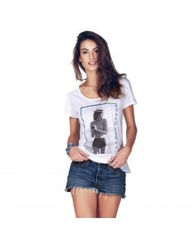 Άσπρη κοντομάνικη modal μπλούζα Jadea 4648