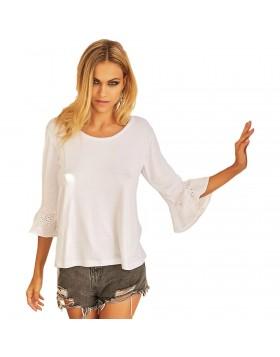 Jadea άσπρη βισκόζ καλοκαιρινή μπλούζα με τελείωμα broderie anglaise στα μανίκια 4778