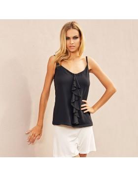 Jadea μαύρη αμάνικη μπλούζα με crepe chiffon και βολάν 4781