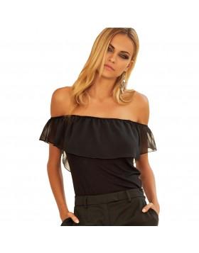 Jadea μαύρη βισκόζ strapless καλοκαιρινή μπλούζα έξωμη με chiffon βολάν στους ώμους 4782