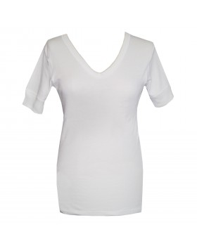 Dedes Thermal γυναικεία άσπρη V μακριά κοντομάνικη ισοθερμική μπλούζα 780.5623