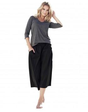 Βαμβακερό σύνολο σκούρο γκρι μπλούζα με μαύρη παντελόνα Jadea 3043