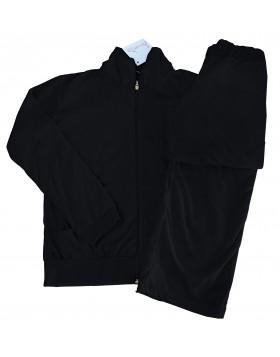 Amelia μαύρη απαλή βελουτέ φόρμα με γιακά και λεπτομέρεια πίσω MOVE ON κωδ.1002