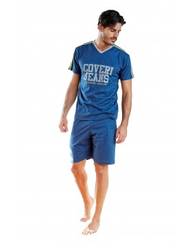 Enrico Coveri μπλε (bluette) καλοκαιρινή ανδρική πυτζάμα COVERI JEANS EA2008