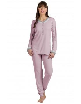 Jeannette ροζ γυναικεία χειμωνιάτικη πυτζάμα 10112
