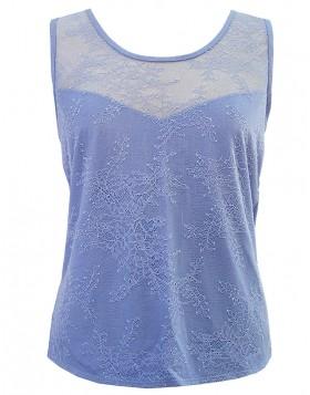 Luna λιλά modal αμάνικη μπλούζα με δαντέλα Delphine 83224