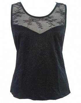 Luna μαύρη modal αμάνικη μπλούζα με δαντέλα Delphine 83224