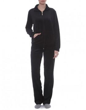 Luna μαύρη γυναικεία βελουτέ φόρμα με γυριστό γιακά LU976
