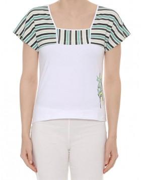 Luna άσπρη βαμβακερή κοντομάνικη μπλούζα Juliette 83232