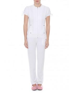 Luna άσπρη βαμβακερή φόρμα Crochet 83052