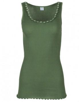 18b983cc75c3 Moretta πράσινο-λαδί βαμβακερό filo scozia ριπ τοπ με μαργαρίτες Romina 3761