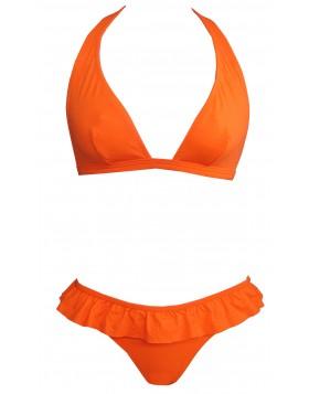Φλούο πορτοκαλί σετ μαγιό τριγωνάκι χωρίς ενίσχυση, χωρίς μπανέλα cup B και brazilian slip Bilitis MS012