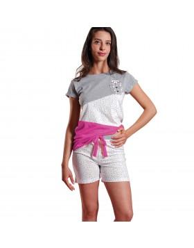 Ogham γυναικεία καλοκαιρινή πυτζάμα γκρι μελανζέ μπλούζα με φούξια λεπτομέρεια και άσπρο σορτσάκι με ασύμμετρο πουά 6508