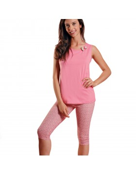 Ogham γυναικεία καλοκαιρινή πυτζάμα ροζ αμάνικη μπλούζα με εμπριμέ κάπρι 6541
