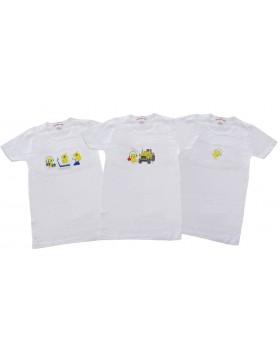 3 τεμάχια άσπρες παιδικές φανέλες με τον Τσίου-Τσίου PP013/3