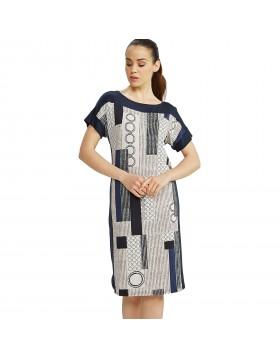 Vamp μπλε midi βισκόζ κλασικό εμπριμέ φόρεμα θαλάσσης 6900 (μεγάλα μεγέθη)