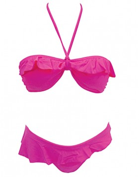 Club Neuf φούξια bikini set μαγιό bandeau strapless B και σλιπ Solid CNM350070