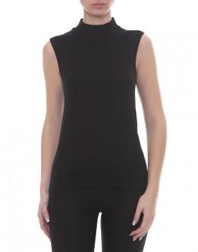 Μαύρη μάλλινη εφαρμοστή αμάνικη μπλούζα DM022