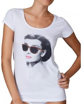Jadea άσπρη βαμβακερή κοντομάνικη μπλούζα με στάμπα Audrey Hepburn 4279Α