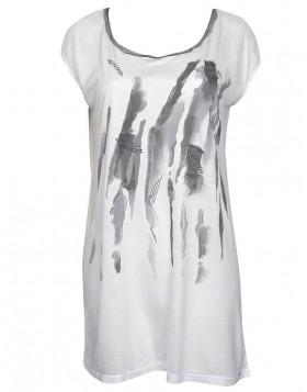 Luna άσπρη μακρυά αμάνικη μπλούζα Carol 91068