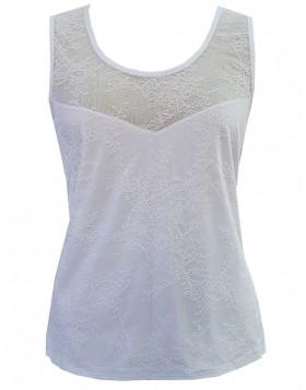 Luna άσπρη modal αμάνικη μπλούζα με δαντέλα Delphine 83224