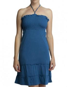 Βισκόζ πετρόλ φόρεμα σφηκοφωλιά 1020