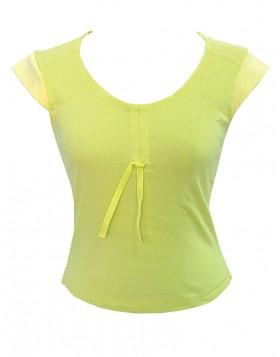 Κίτρινο βαμβακερό αμάνικο μπλουζάκι Saint Clair 4062
