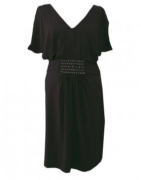 Vamp βισκόζ μαύρο φόρεμα 9419