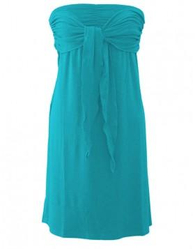 Vamp βισκόζ τυρκουάζ strapless φόρεμα για τη θάλασσα 1307