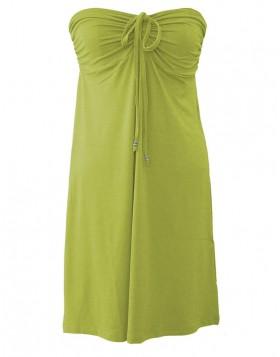 Vamp βισκόζ lime-κίτρινο-λαχανί strapless φόρεμα για τη θάλασσα 2169
